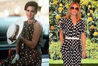 Julia Roberts con gli abiti di Pretty Woman: alla partita di polo col vestito a pois come nel film