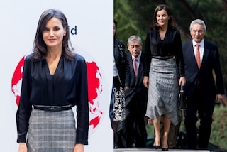 Letizia di Spagna regina del low-cost: la gonna costa 100 euro ma gli accessori sono di lusso