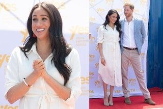 Meghan Markle in Africa con la camicia bianca oversize: lo shirt dress è il must have dell'autunno
