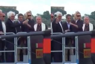"""Miuccia Prada battezza la nuova Luna Rossa ma """"caccia"""" il marito: la divertente scena diventa virale"""