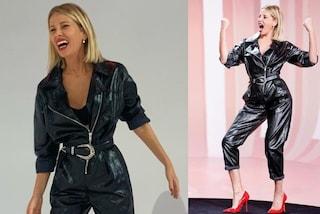 Alessia Marcuzzi in tuta e con le scarpe rosse: a Le Iene sceglie il look tutto in pelle