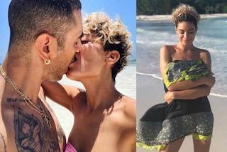 """Elodie """"selvaggia"""" in vacanza con Marracash, al mare i capelli diventano ricci"""