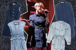 Elodie lancia la tendenza per l'autunno 2019: il must è il mini abito di jeans