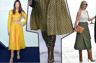 Tendenze autunno 2019, sono di moda gli anni '70: quest'anno la gonna midi si porta con gli stivali