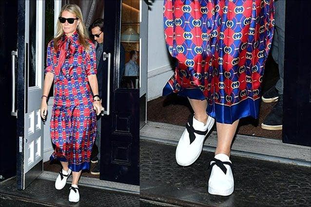 Gwyneth Paltrow con abito Gucci e sneakers