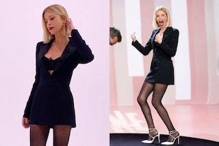 Alessia Marcuzzi con il look nero a Le Iene lancia le scarpe dell'autunno (che sono bianche)