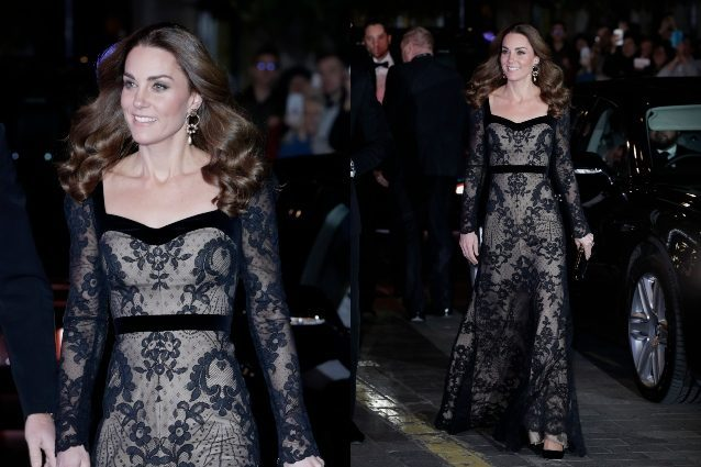 Abiti Eleganti Kate Middleton.Kate Middleton Sensuale In Pizzo L Abito Da Sera Nero E Nude E