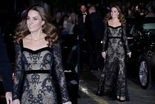 Kate Middleton sensuale in pizzo: l'abito da sera nero e nude è incantevole