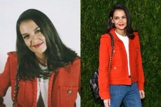 Katie Holmes con il look trendy casual lancia la giacca dell'autunno (che è rossa)
