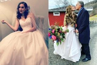 Martina, la figlia di Paolo Bonolis sposa in bianco: matrimonio con pelliccia e maxi bouquet