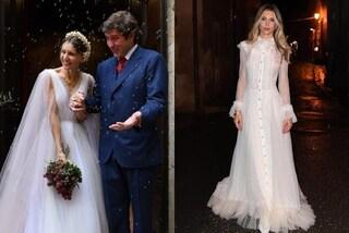 Nicoletta Romanoff sposa romantica: due abiti bianchi per le seconde nozze con Federico Alverà
