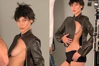Bella Hadid irriconoscibile col nuovo look: capelli cortissimi e topless per il servizio fotografico