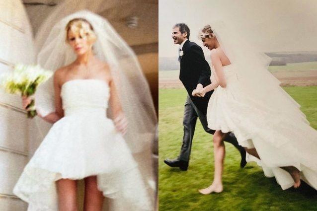Alessia Marcuzzi scalza in abito da sposa: il dolce ricordo per il