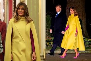 Melania Trump in color block incontra Elisabetta II: la mantella gialla costa quasi 5mila euro