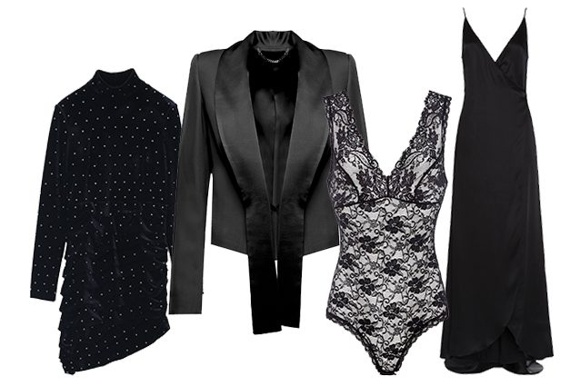 da sinistra minidress Miss Sixty, giacca Federica Tosi, body OVS, abito lungo Pleasedontbuy signed by Twinset