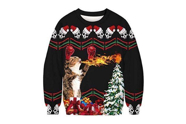 Felpa con motivo natalizio Natale pullover RENNA ROSSO VERDE Navy S-XXL