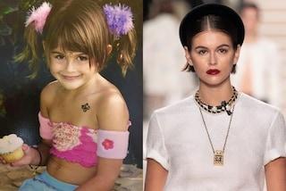 Kaia Gerber da bambina con codine di pelo e tatuaggio temporaneo: anche da piccola era trendy