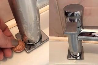 Rimuovere il calcare dal rubinetto con una monetina, il trucco diventa virale sul web