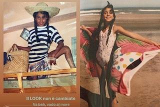 Belén Rodriguez da piccola in costume e con le trecce: anche da bambina amava i look trendy