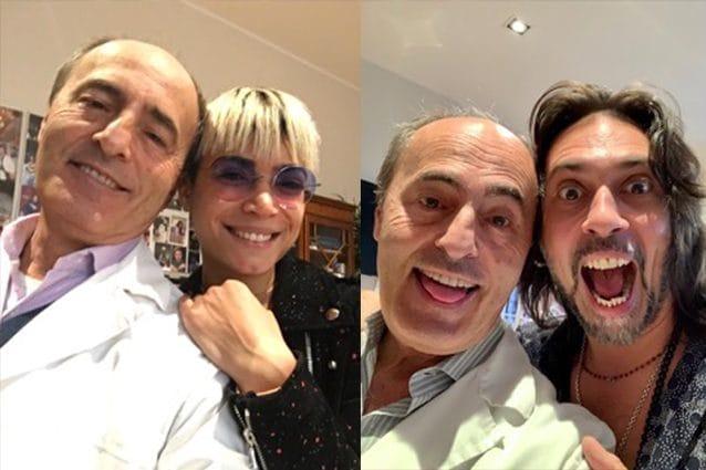 Il dottor Franco Fussi con Elodie e con Francesco Sarcina