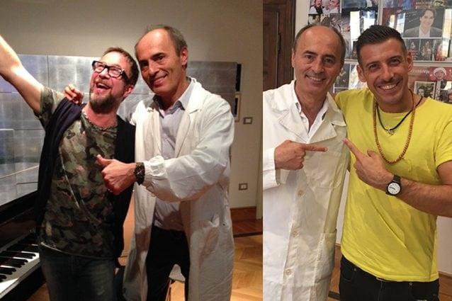 Il dottor Franco Fussi con Marco Masini e con Francesco Gabbani