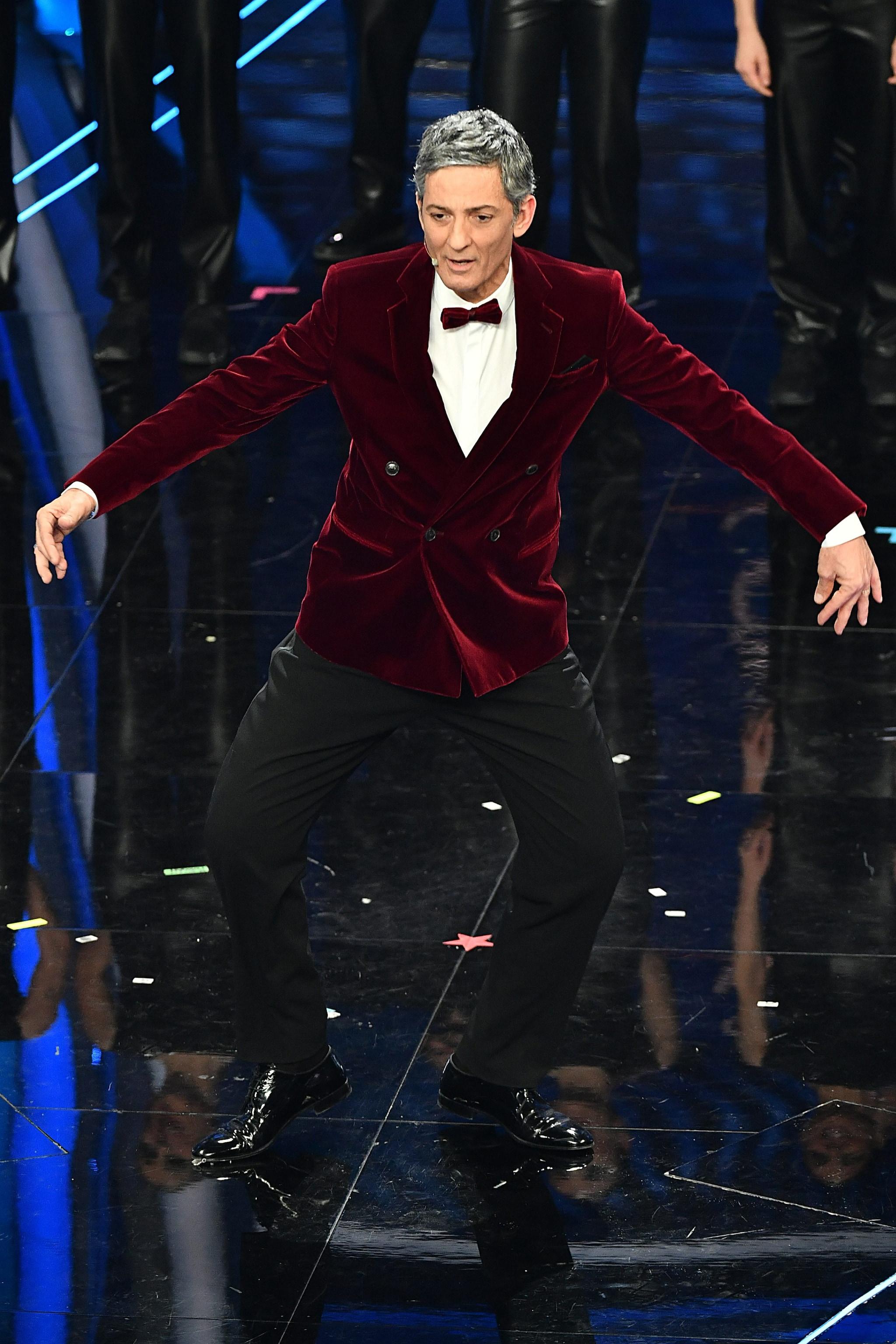 Fiorello in Giorgio Armani a Sanremo 2020
