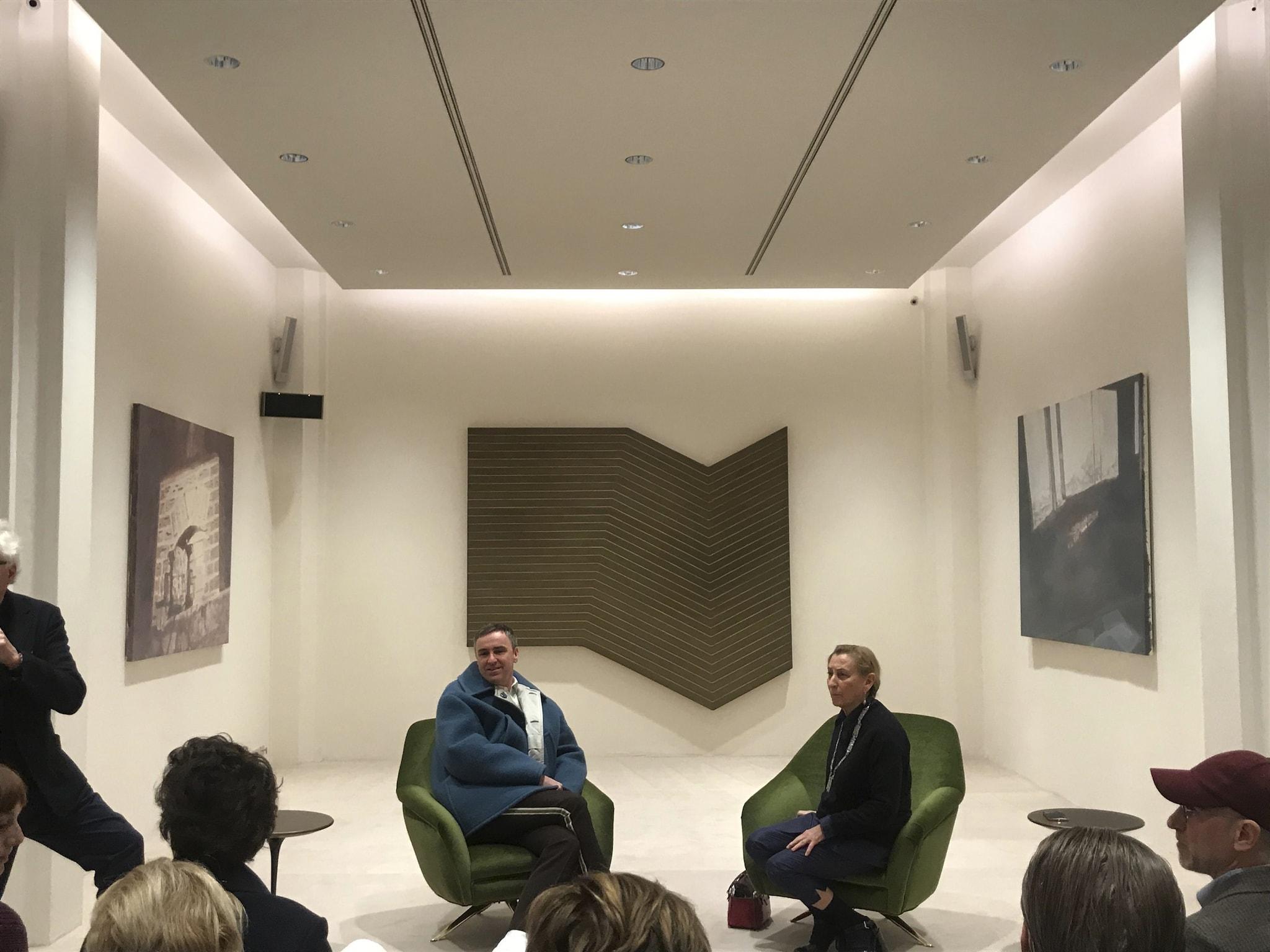 Miuccia Prada e Raf Simons alla conferenza