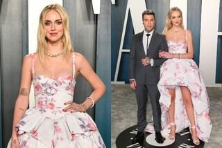 Chiara Ferragni al party degli Oscar è primaverile: sul red carpet con Fedez in abito a fiori