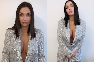 Elettra Lamborghini a Domenica In, ricicla il look di paillettes e usa un trucco anti-incidente hot