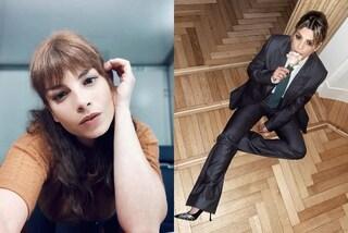Emma Marrone con capelli castani e frangia: il look per San Valentino è maschile