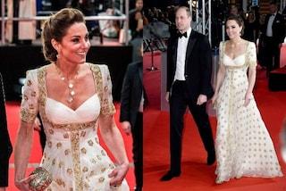 Kate Middleton principessa in bianco e oro: ricicla l'abito ma questa volta lo fa per l'ambiente