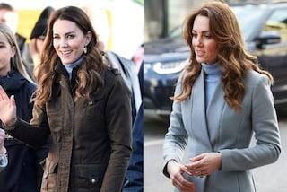 Kate Middleton regina del riciclo: cambia stivali e cappotto ma i pantaloni skinny sono gli stessi