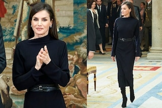 Letizia di Spagna elegante in nero e con i maxi stivali: il tubino registra il tutto esaurito