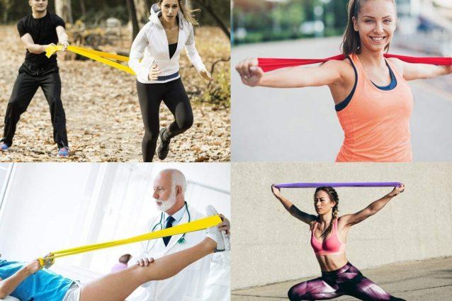 Elastiche di Resistenza di Lattice Naturale yoga pilates- Attrezzi Palestra per Casa Banda Allenamento 5 Diversi Livelli di Resistenza per Fisioterapia Elastici Fitness, stretching Set di 5