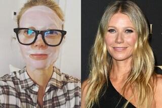 Gwyneth Paltrow fa la maschera viso con gli occhiali: in quarantena si dedica alla cura della pelle