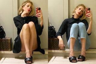 Alessia Marcuzzi mostra i due lati di sé (ma le scarpe sono sempre griffate)