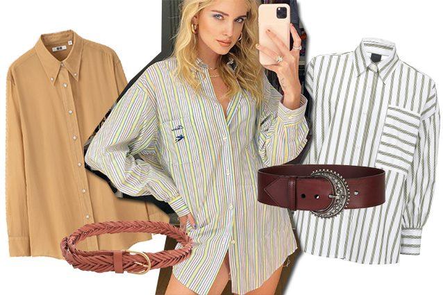 a sinistra camicia Uniqlo e cintura Zimmermann, al centro Chiara Ferragni in Etro, a destra camicia Pinko e cintura Etro