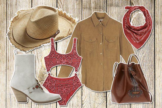 cappello Montegallo, boots Redemption, costume tezenis, camicia Mes Demoiselles, bandana Levi's, secchiello The bridge