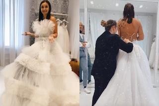 Elettra Lamborghini alla ricerca dell'abito da sposa: potrebbe essere di tulle e con le spalle nude