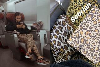 Elettra Lamborghini viaggia con il look leopardato: deve provare l'abito da sposa per la prima volta
