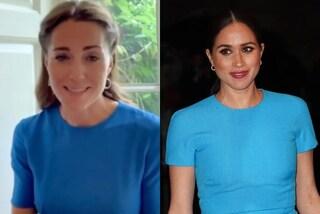 Kate Middleton sfida Meghan Markle a distanza e imita il suo abito blu