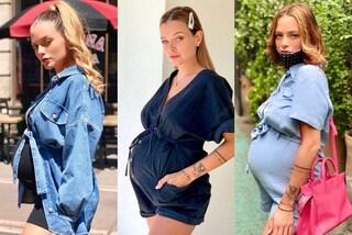 Silvia Provvedi futura mamma in mini abiti e tutine di jeans: la gravidanza è trendy e low-cost