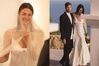 Vittoria Ceretti sposa in bianco e col velo: per le nozze con Matteo Milleri punta sulla semplicità