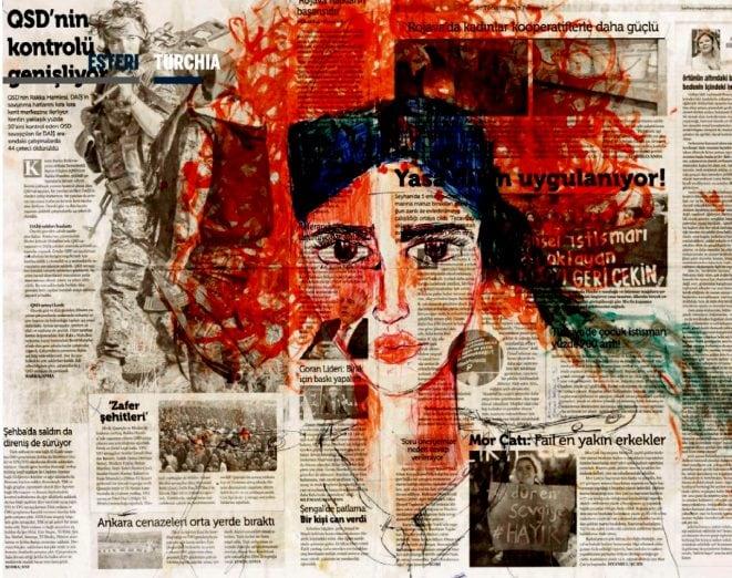 Una delle opere dal carcere di Zehra Dogan