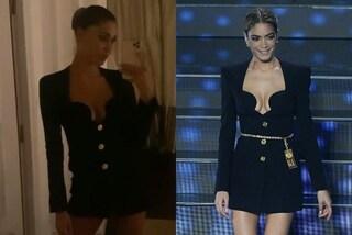 """Belén Rodriguez a Tu Sì Que Vales """"imita"""" Elodie: l'abito nero scollato è lo stesso di Sanremo"""