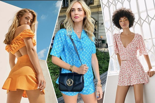 da sinistra completino Bersha, Chiara Ferragni in Louis Vuitton, completino Pull and bear