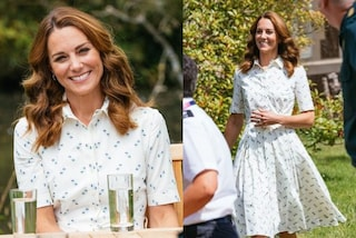 Kate Middleton in estate non rinuncia al lusso: lo chemisier bianco costa oltre mille euro