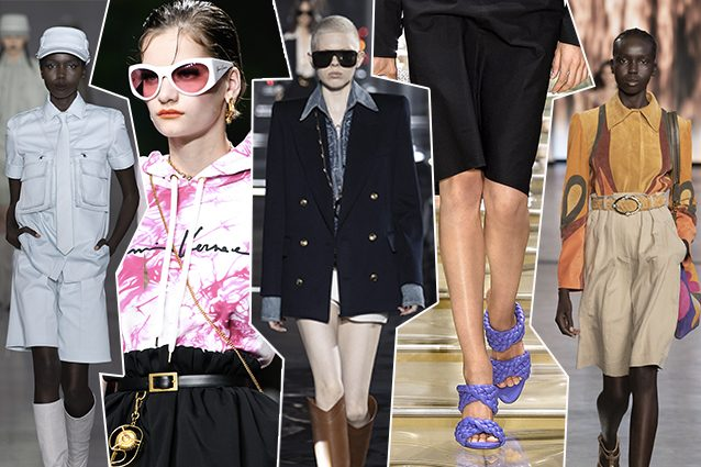 da sinistra Max Mara, Versace, Saint Laurent, Bottega Veneta, Alberta Ferretti