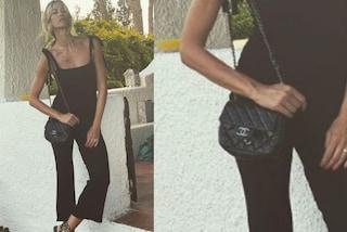Elena Santarelli, il look nero nasconde un dettaglio di lusso: la borsa vale oltre 3mila euro