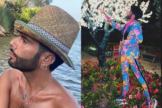 Federico Fashion Style, la sua estate è in completo multicolor ma non rinuncia al cappello di paglia